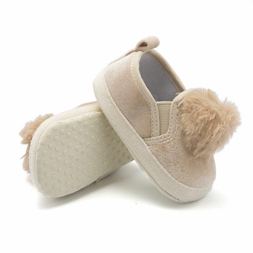 Toddler Baby Girls Soft Sole Anti-Slip Shoes Pom Pom Prewalker Kids Newborn Crib Shoes