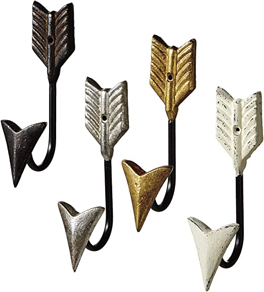 Midwest-CBK Follow Your Arrow Single Wall Hooks Set of 4 Painted Cast Iron Midwest CBK