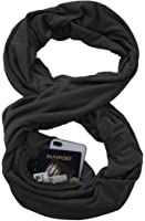 Infinity Scarf Shawl Wrap - Solid Zip Pocket Scarf Travel for Iphone