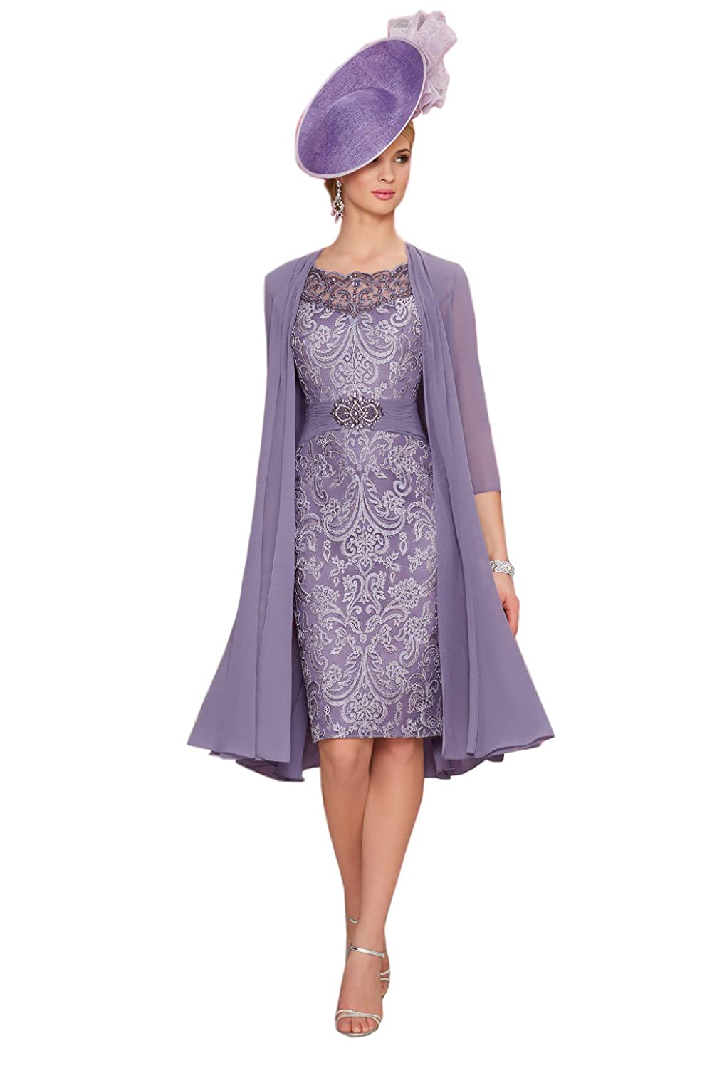 Kelaixiang Knee Length Purple Lace Mother of The Bride Dress With Chiffon Jacket at Amazon Womens Clothing store: