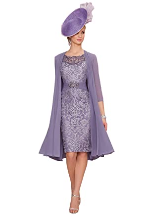 dressvip Purple Lace Half Sleeves Below Knee Length Prom Dress with Chiffon Coat (UK12,
