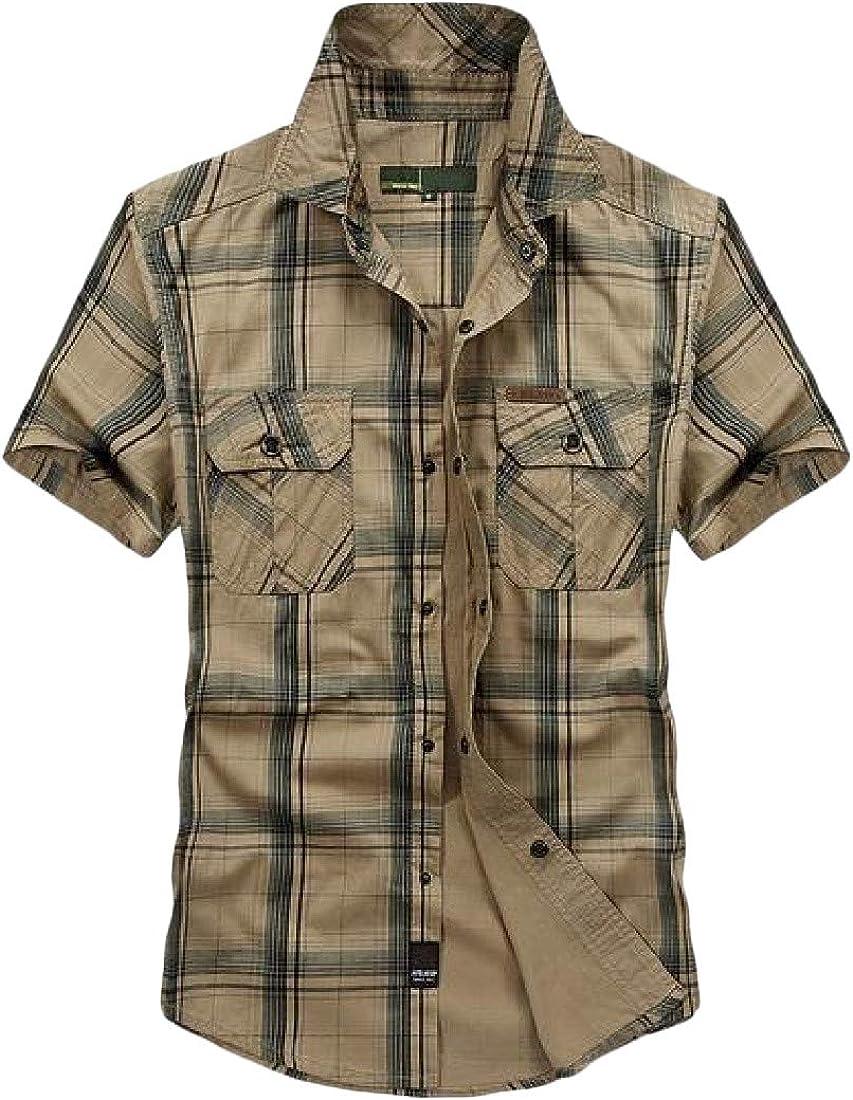 Wofupowga Men Casual Plaid Short Sleeve Button Down Pocket No Iron Shirt
