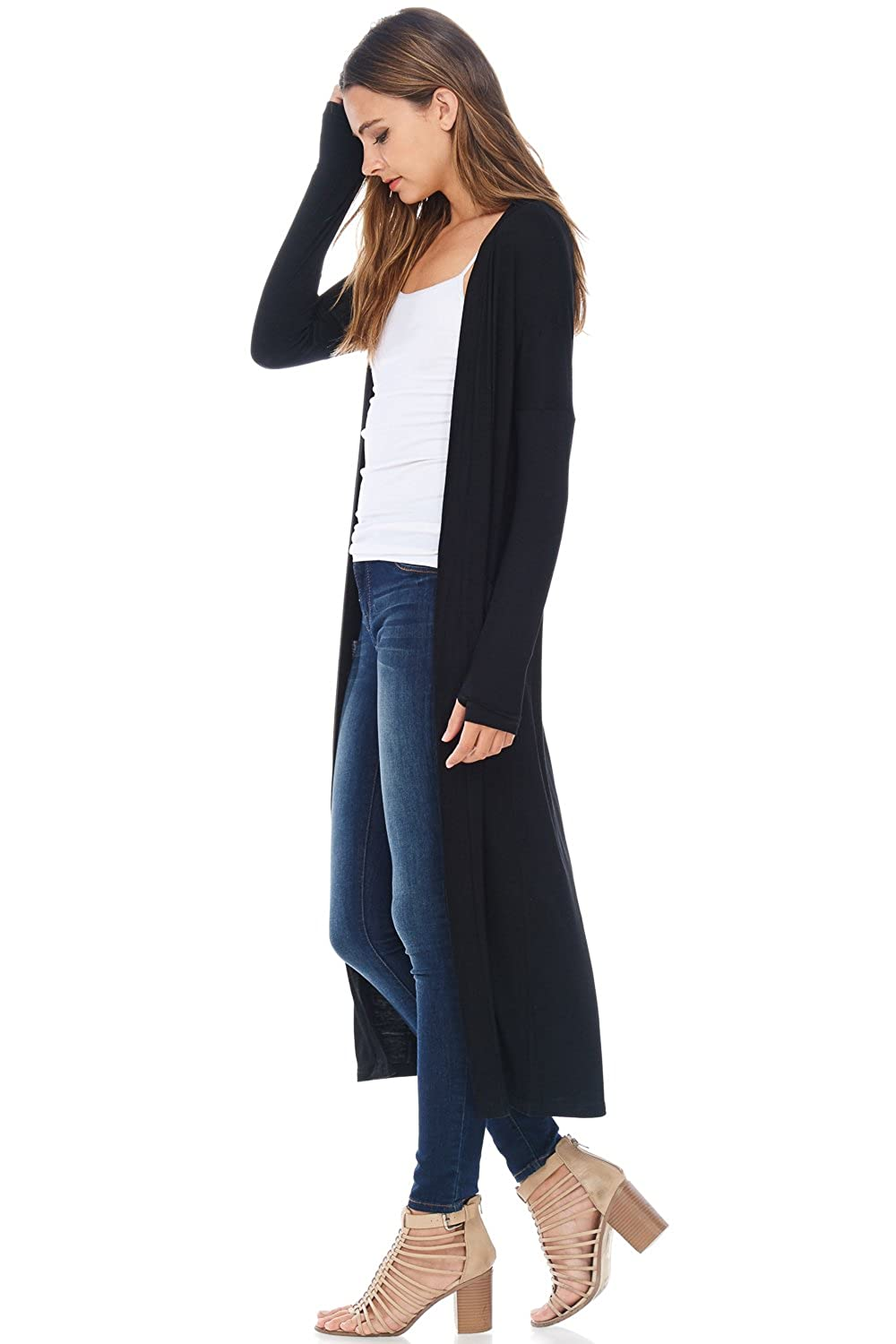 A D Womens Maxi Duster Jersey Cardigan Sweater W/ Pockets at ...