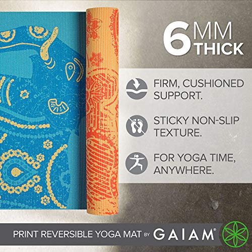 Gaiam Yoga Mat – Premium 6mm Print Reversible Extra Thick Non Slip Exercise & Fitness Mat for All Types of Yoga, Pilates…