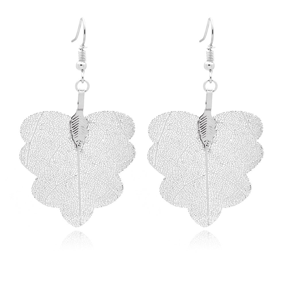 Metal-Plated Lightweight Charm Butterfly Earring Jewelry Fashion Gift for Women Girls C/&L Accessories Delicate Real Natural Filigree Leaf Drop Dangle Earrings
