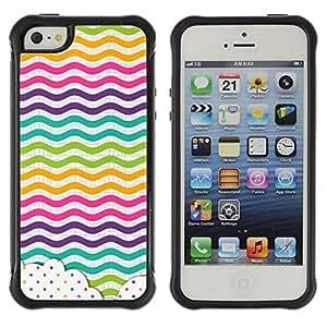 Suave TPU Caso Carcasa de Caucho Funda para Apple Iphone 5 / 5S / Dot Waves Lines Rainbow Color / STRONG