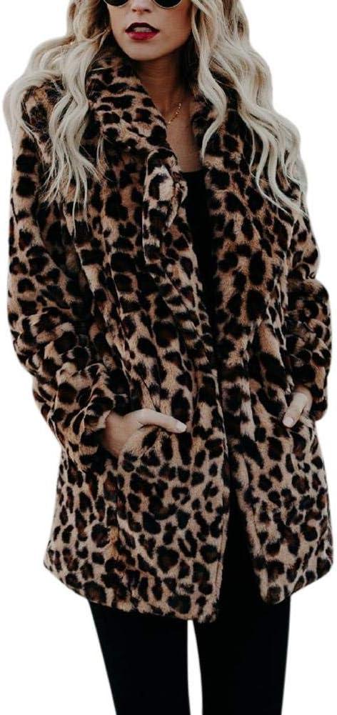 remote.S Abrigo de Pieles Artificial décontracté de Manga Larga de Piel sintética para Mujeres, Leopardo, L