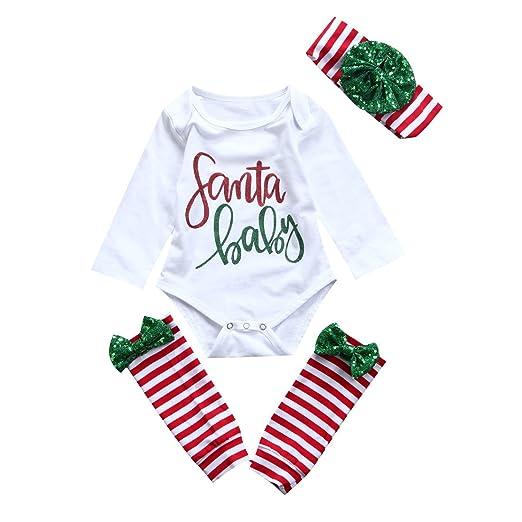 e8eda5aab Baby Xmas Outfit Newborn Girls Santa Romper Leg Warmers Bow Headband 3Pcs  Clothes Set -Glosun