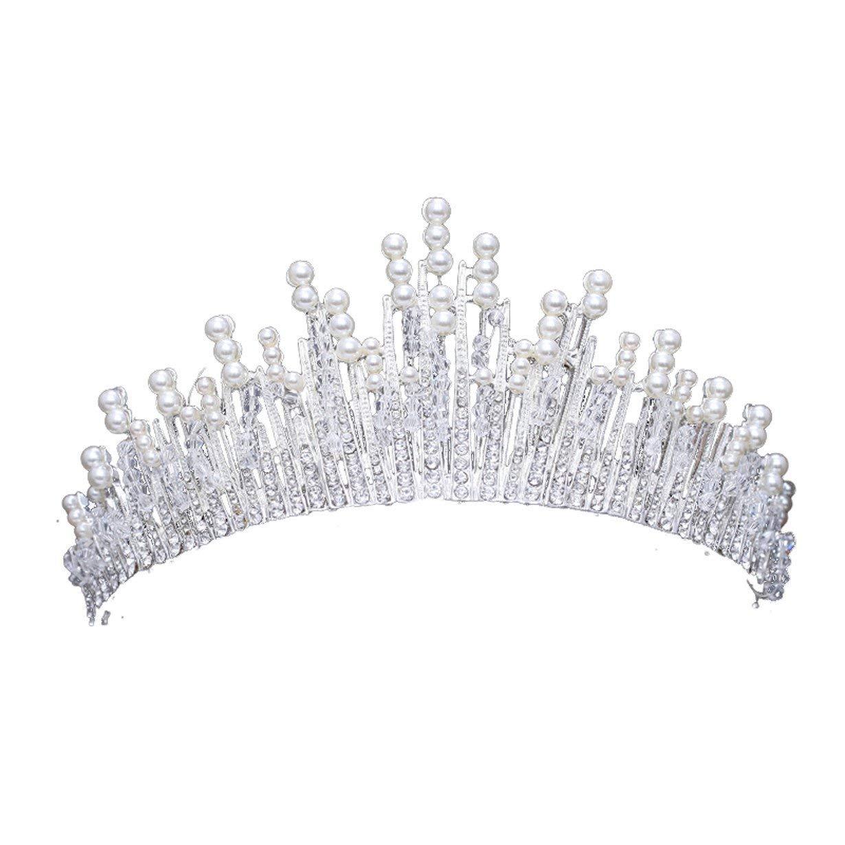 Crystal Crown, Diamond Drill Bridal Headwear Crystal Pearl Crown Princess Crown Wedding Dress Accessories