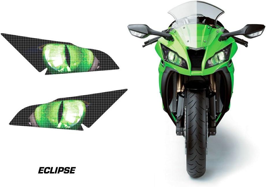 AMR Racing Sport Bike Headlight Eye Graphic Decal Cover for Kawasaki Ninja ZX 10R 11-14 - Eclipse Green