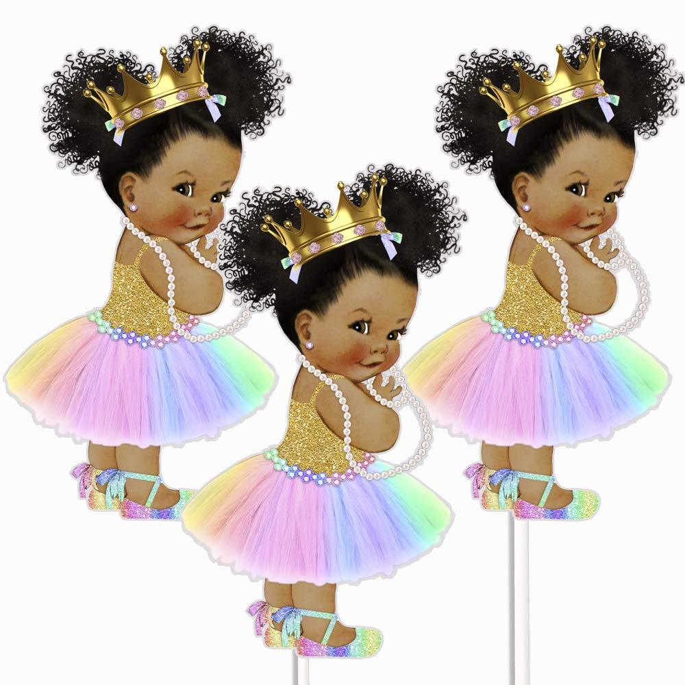 Rainbow Princess African American Centerpieces, Unicorn Princess Table Party Decoration