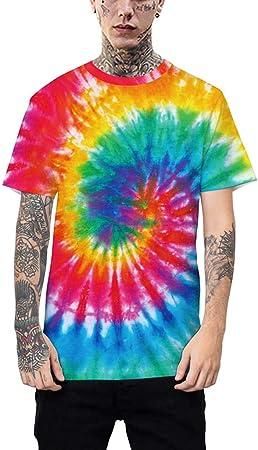 chenpaif - Camiseta de Manga Corta para Parejas con Cuello Redondo, impresión Digital de Graffiti arcoíris, Estilo Hip-Hop, teñida con pigmentos Vintage, Talla 16# 2XL, 06#, Small: Amazon.es: Hogar