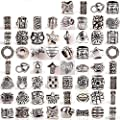 RUBYCA Tibetan Silver Tone Color Spacer Loose Beads Fit European Charm Bracelet Mix Lot For DIY