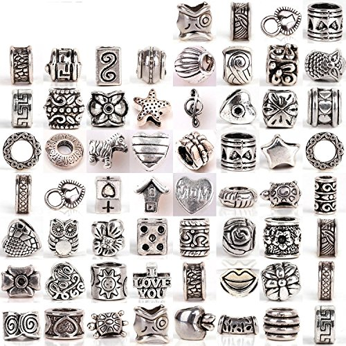 RUBYCA Tibetan Silver Tone Color Spacer Loose Beads Fit European (Beads And Charms)