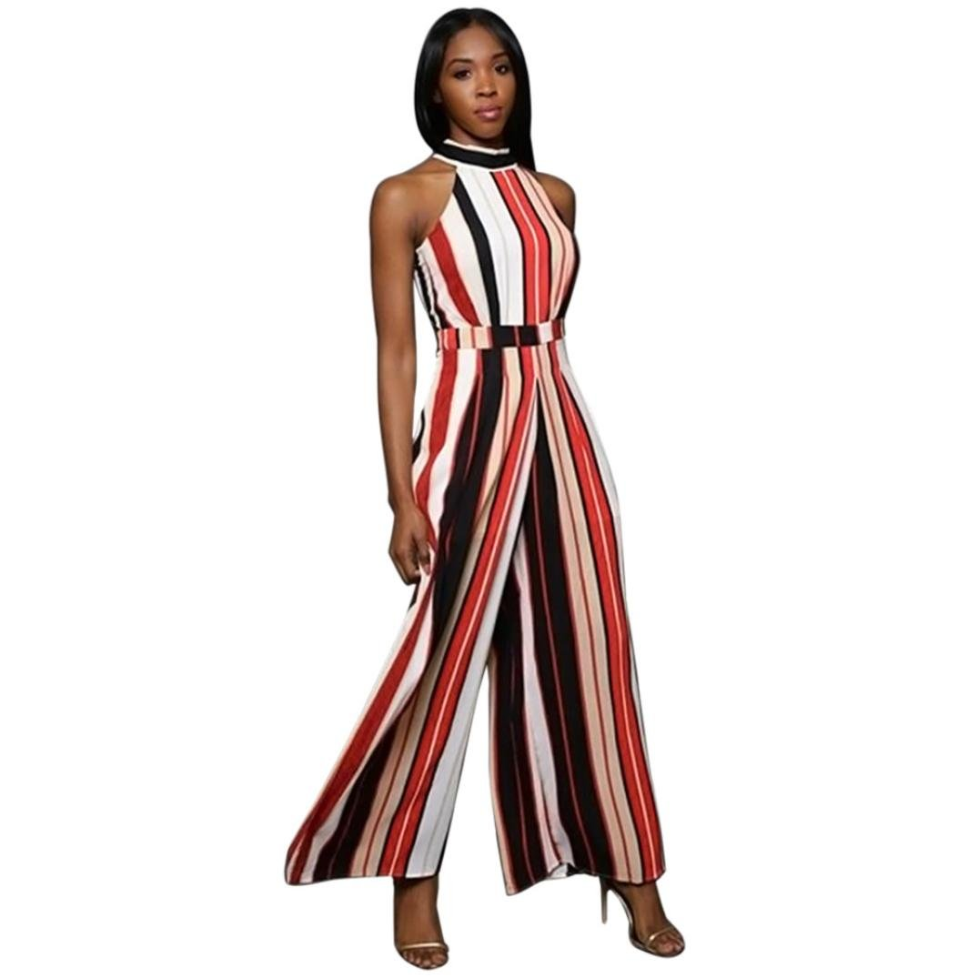 Sumen Women Sleeveless Striped Jumpsuit Casual Clubwear Wide Leg Pants Rompers