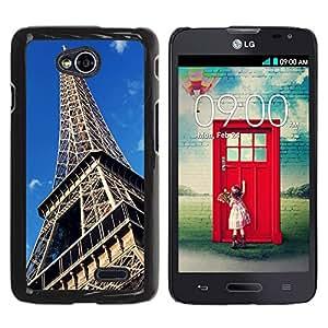 Graphic4You Paris Eiffel Tower Postcard Design Thin Slim Rigid Hard Case Cover for LG Optimus L70 Dual