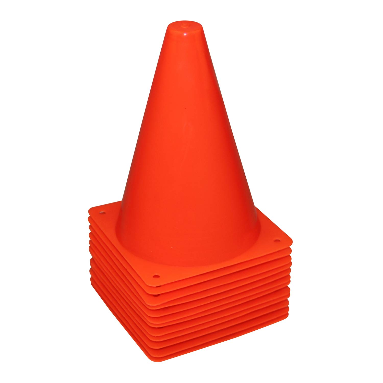 REEHUT 7.5 Inch Plastic Sport Training Traffic Cone (Set of 12, Red)