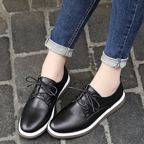 T-july Mujeres Retro Oxfords Zapatos - Zapatos Cómodos Con Punta Redonda De Cordones Con Plataforma Plateada