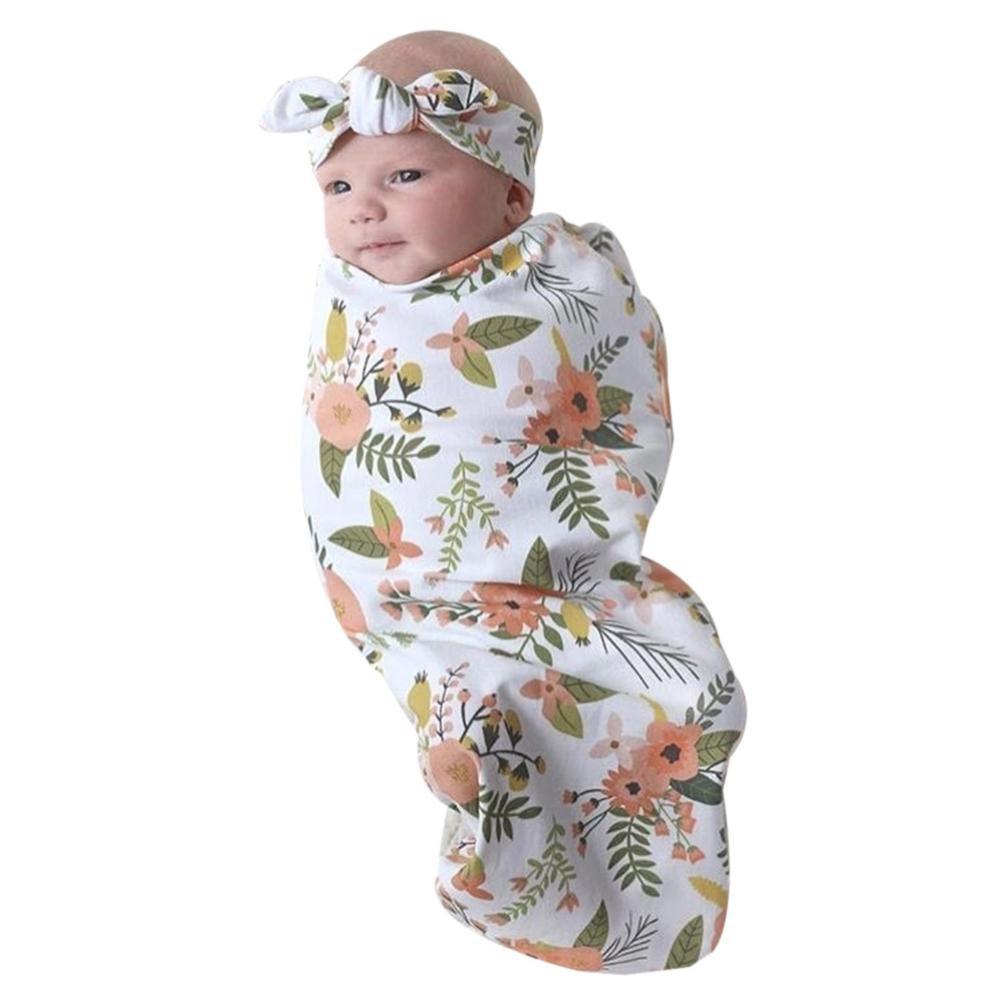 ANBOO Newborn Infant Baby Swaddle Blanket Sleeping Muslin Wrap Headband Set (FREE, Multicolor)