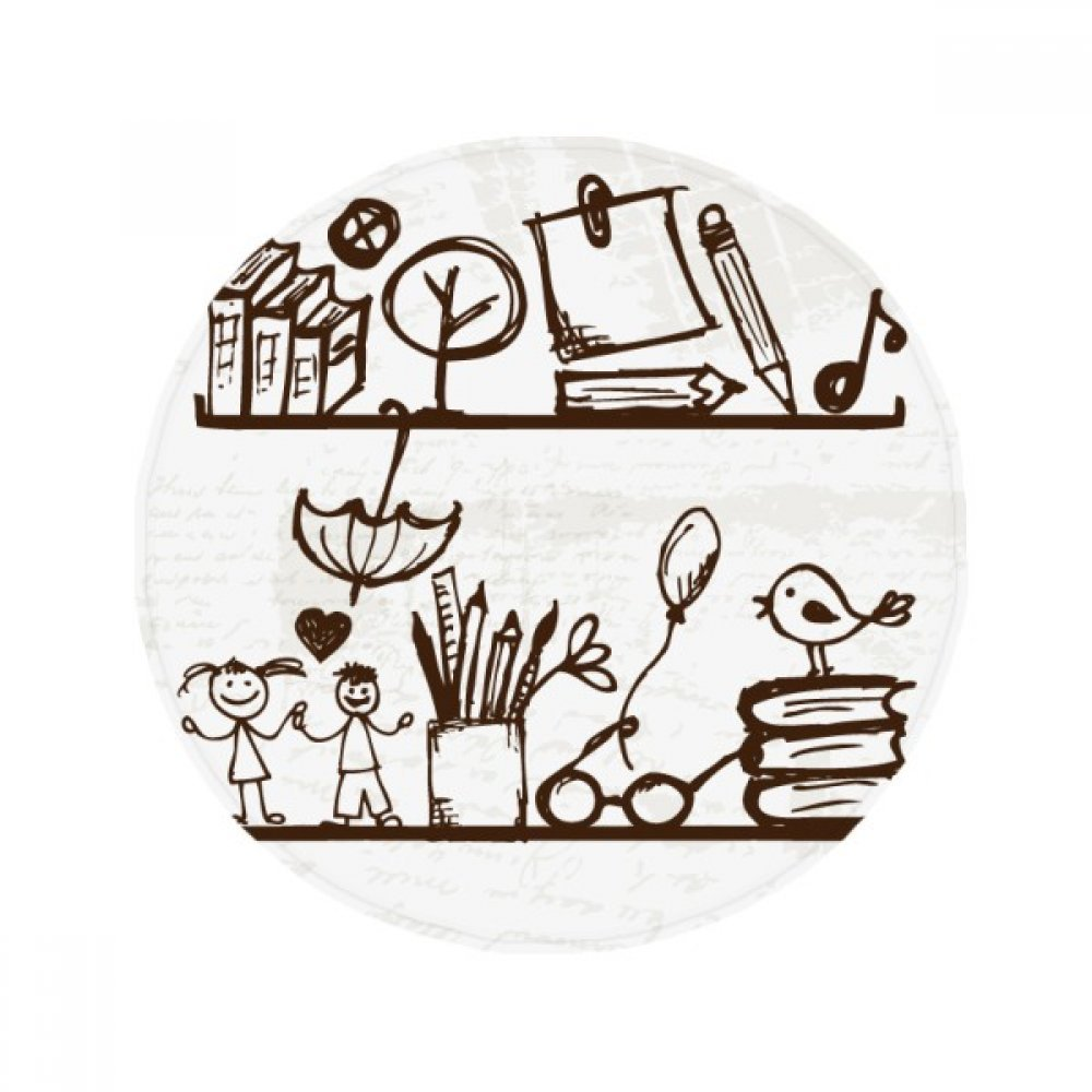 DIYthinker Children Cute Illustration Bookshelf College Anti-slip Floor Pet Mat Round Bathroom Living Room Kitchen Door 80cm Gift
