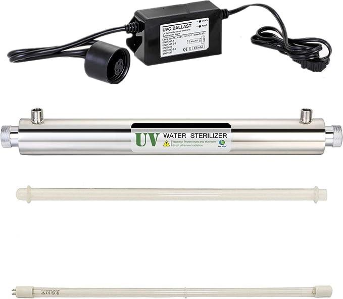 HJJGRASS 10GPM 40W UV Purificador de Agua Filtro de esterilizador para Agua Potable/Sistema Ro/Dispensador de Agua/Sistema de purificación de Agua para Toda la casa ...