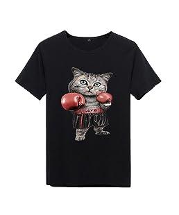 Sfit Homme Haut Tops T-Shirt Manches Courtes Imprimé Dessin Chat Animal Été