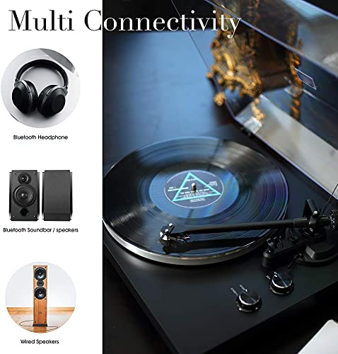 MUIFA Bluetooth Output Turntable, Belt Driven Hi-Fi Wireless Stereo Record Player w MM Cartridge, Built-in Preamp, Convert Vinyl to Digital, 33-1 3 and 45 RPM