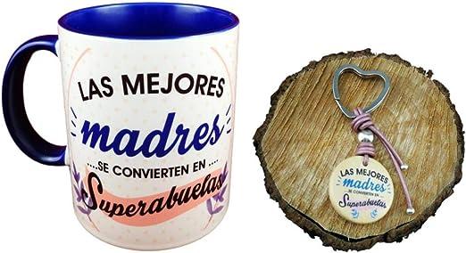 Pack Taza Ceramica Y Llavero Madera Frase Las Mejores Madres se ...