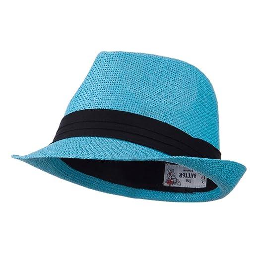 4aafaf04bc6 Pleated Hat Band Straw Fedora Hat - Turquoise OSFM at Amazon Men s ...