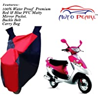 Auto Pearl-100% Water Proof PVC Matty Red & Blue Bike Body Cover with Mirror Pockets,Buckle Belt,Carry Bag for - TVS Pep Plus