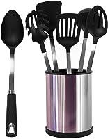 [UTENSILS + HOLDER] 6 Pcs Stainless Steel Kitchen Utensil Set + Stainless Steel Rotating Cooking Utensil Holder Premium...