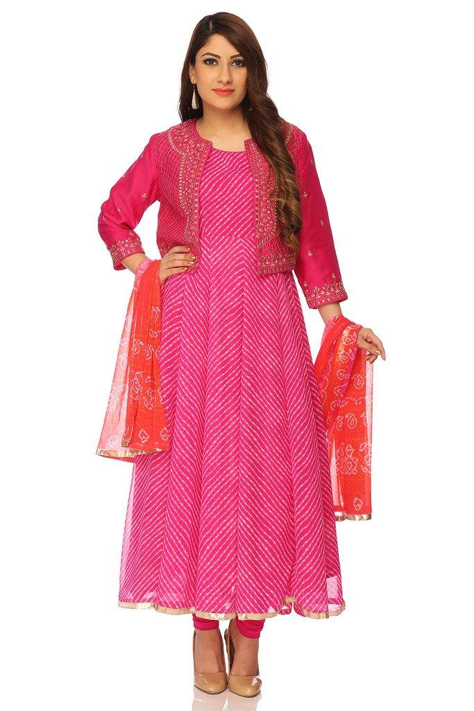BIBA Women's Anarkali Poly Cotton Suit Set 32 Pink