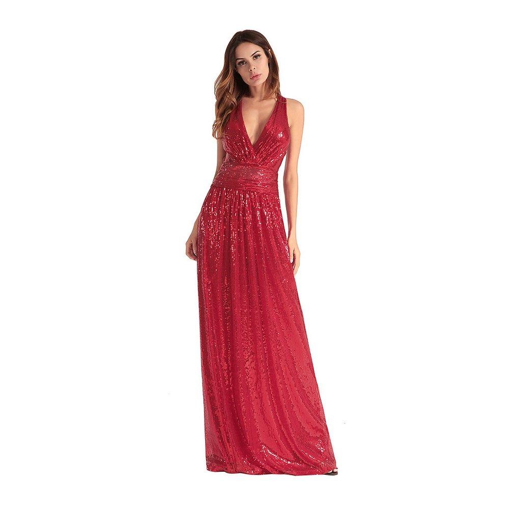 Rouge S FXFAN MesLes dames Robe Sexy Demoiselle d'honneur Robe de Soirée Croix Robe de Paillettes ZYXCC