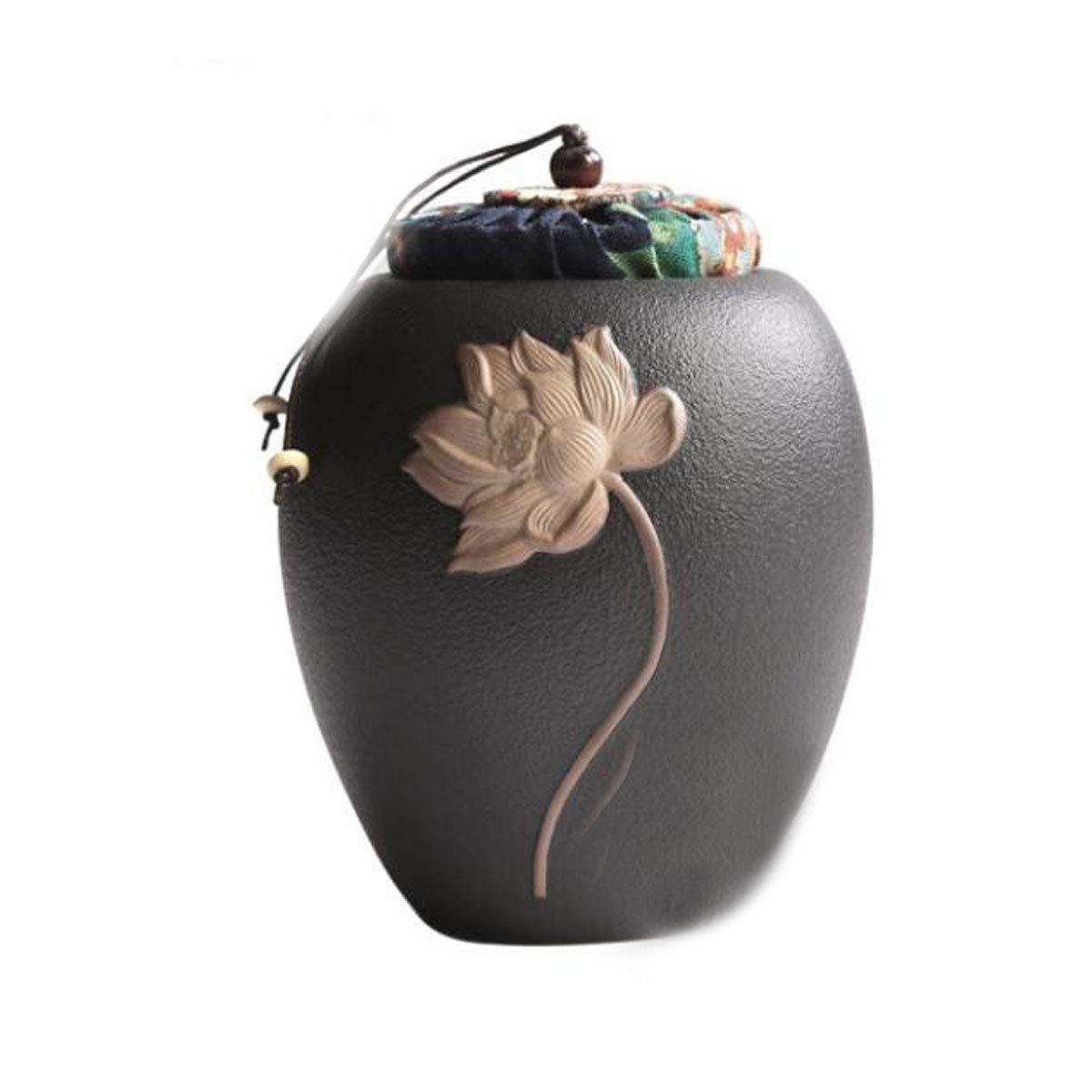Black Kuqiqi Pet Casket, Urn Cans, Animal Coffins, Dual-use, Cat And Dog Death Souvenirs, Handmade Ceramic Sealed Cans (color   Black)