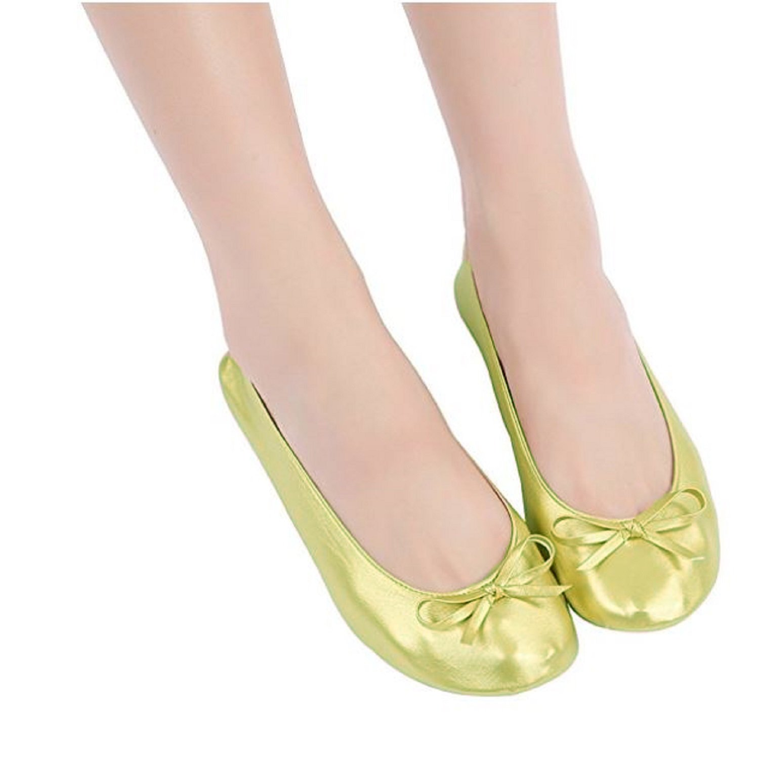 Foldable Flat Ballet Shoes with Expandable Tote Bag for Carrying High Heels Folding Portable Travel Gold Shoes Plus Sizes Shoes 5 to 12 Shoes That fold up. (Medium = 7 up to 8)