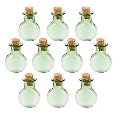 10 Botellas De Corcho De Botella De Vidrio Que Deseen Vial Plano Y Redondo Colgantes Bricolaje