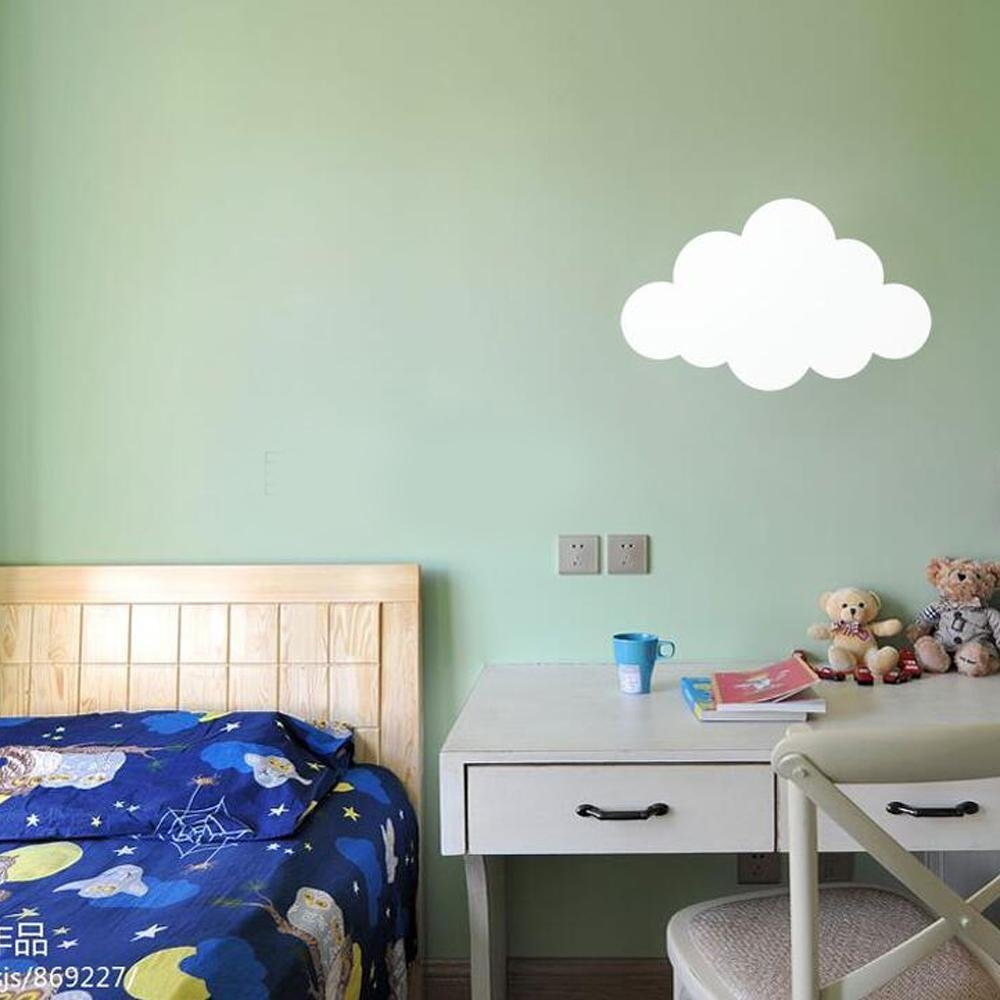 LED-einfache Karikatur-Kunst-Wolken-Form-Wand-Lampe Wei/ßes Schlafzimmer Bedside Kinderzimmer Eisen Wand-Lampe Hintergrund Wand Kindergarten Beleuchtung 5W LED warmes Licht