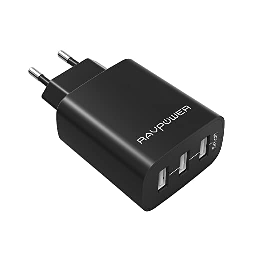 498 opinioni per RAVPower Caricatore USB da Muro a 3 Porte (30W, 5V/6A), con Output Massima fino