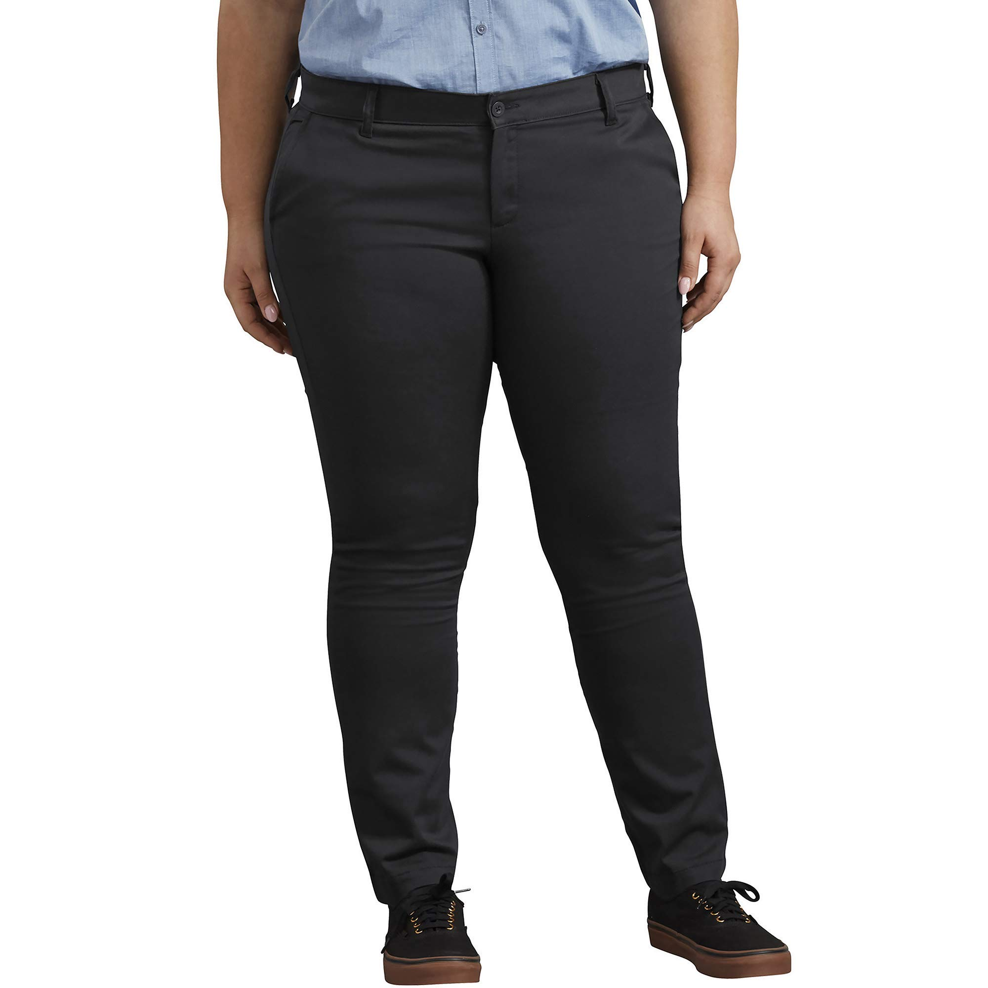 Dickies Women's Plus Size Mid-Rise Skinny Stretch Twill Pant