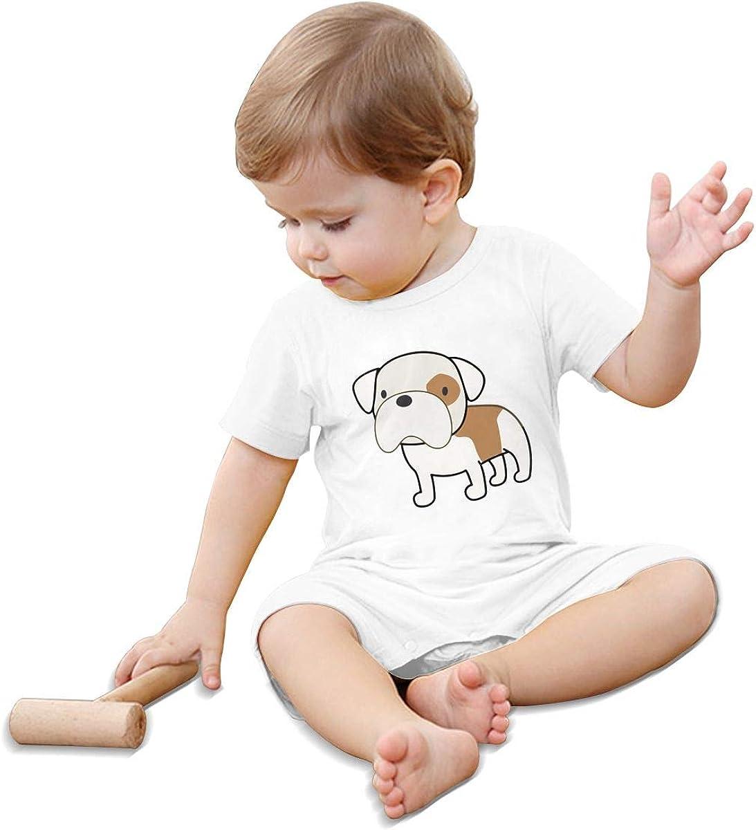 Mri-le1 Newborn Baby Short Sleeved Coveralls Bam Bam English Bulldog Baby Clothes