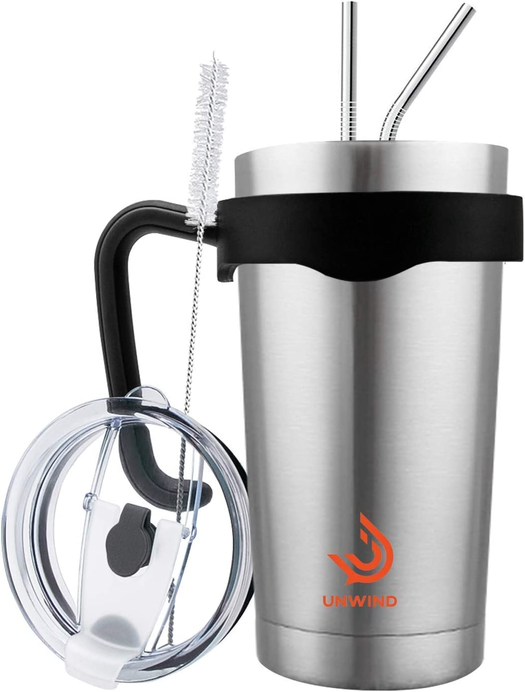 Unwind 20 oz Stainless Steel Tumbler Vacuum Insulated Coffee Cup Large Travel Mug Works Great for Ice Drinks and Hot Beverage - Silver