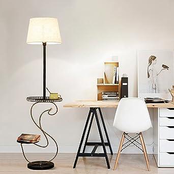 Moderne Stehlampe, Wohnzimmer Schreibtisch Sofa Nachttisch Vertikale  Aufrechte Leinen Lampenschirm, Kristall Runde Tischlampe (