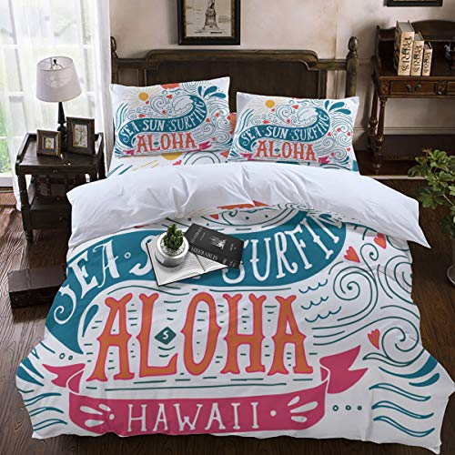 - Duvet Cover Sets,Lightweight Soft and Breathable 4-Piece Bedding Comforter Covers with Zipper Closure, Corner Ties for Men, Women, Boys and Girls - Aloha Hawaii Sea Sun Surfing Full Size