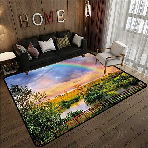 (Kids Rug Rainbow Kentucky Countryside Design Children Crawling Bedroom Rug 5'6
