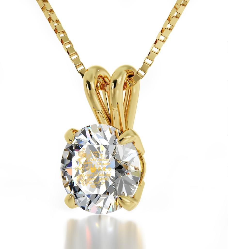 Gold Plated I Love You Necklace Solitaire Pendant 12 Languages 24k Inscribed on Clear Crystal, 18'' Chain