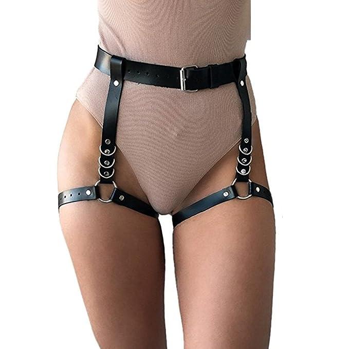 ADESUGATA Women's Gothic Leg Harness Bondage Leather Harness Garter Belt  Adjustable Waist Leg Body Harness Garter