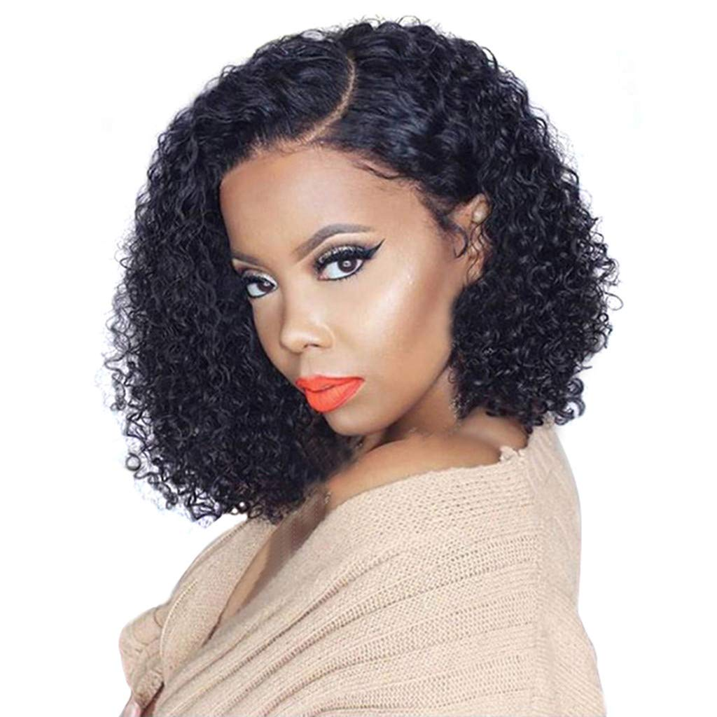 DDLmax Hair 14inch Lace Front Wigs Cury Short Bob Wigs Pre Plucked Hair Curly Brazilian Remy Hair Wigs for Black Women by DDLmax