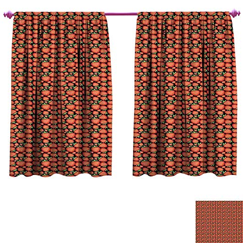 Strawberry Waterproof Window Curtain Tropical Fruit Pattern with Vivid Ripe Berries Healthy Sweet Summer Fresh Food Decorative Curtains for Living Room W63 x L45 Multicolor