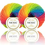 Rainbow Soft Yarn 100% Wool Colorful Yarn For Crocheting Knit With 2 Skeins Total Length 180m×2(196yds×2,50g×2)-11