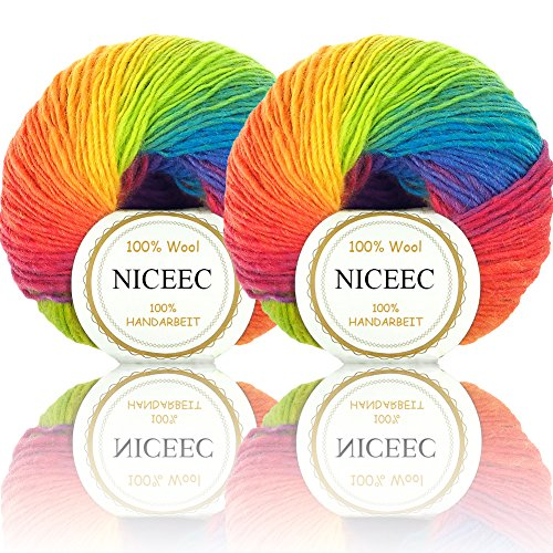Rainbow Soft Yarn 100% Wool Colorful Yarn For Crocheting Knit With 2 Skeins Total Length 180m×2(196yds×2,50g×2)-11 by NICEEC